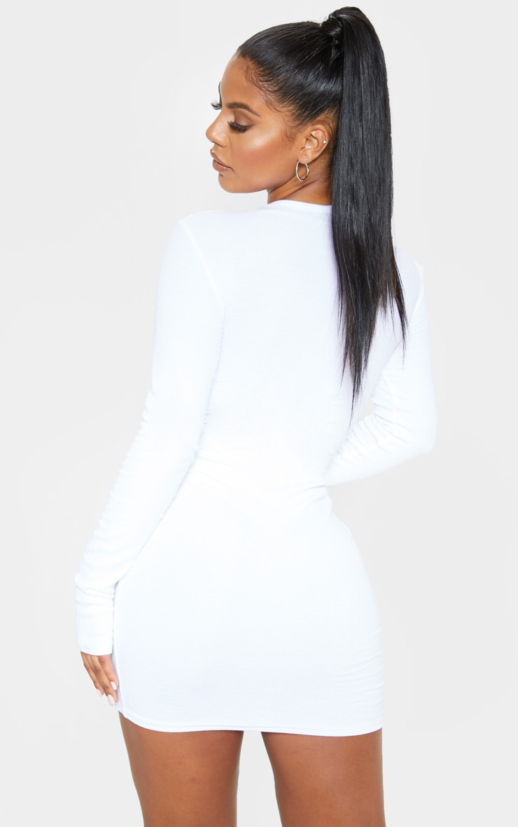 White Long Sleeve Thumb Hole Bodycon Dress 2