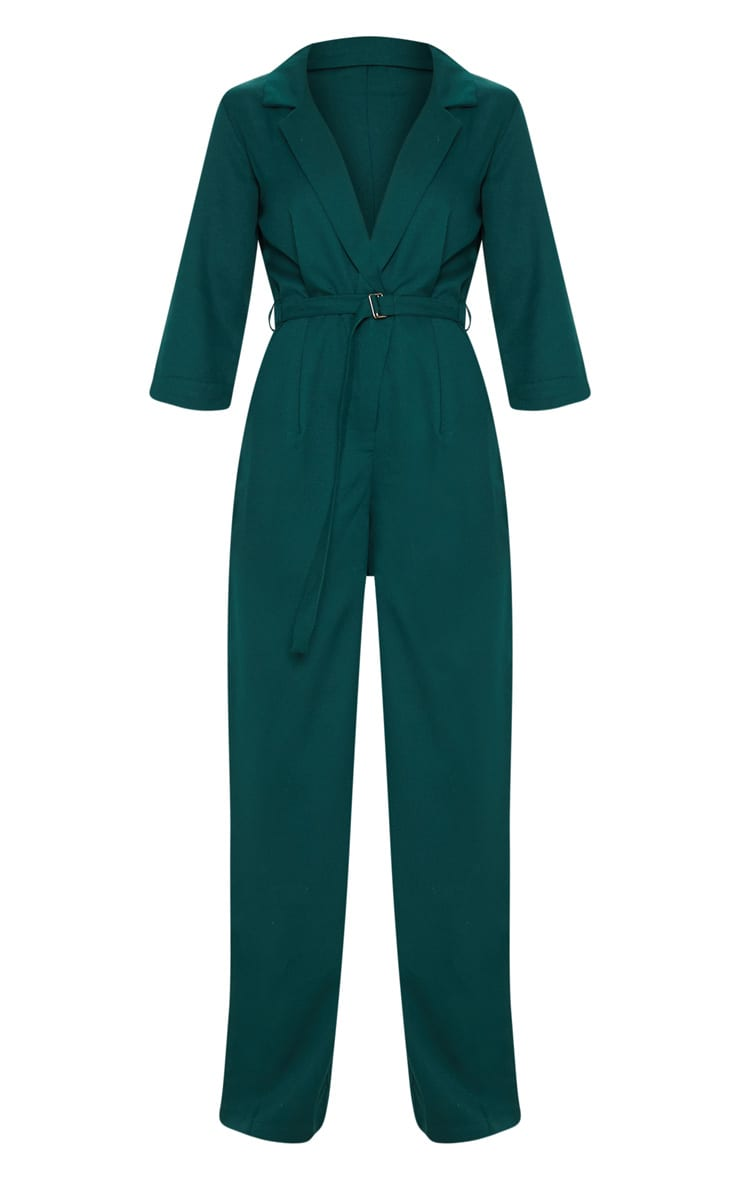 Emerald Green Woven Plunge Wide Leg Jumpsuit 3