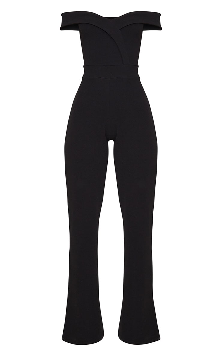 Black Crepe Bardot Folded Detail Jumpsuit 3