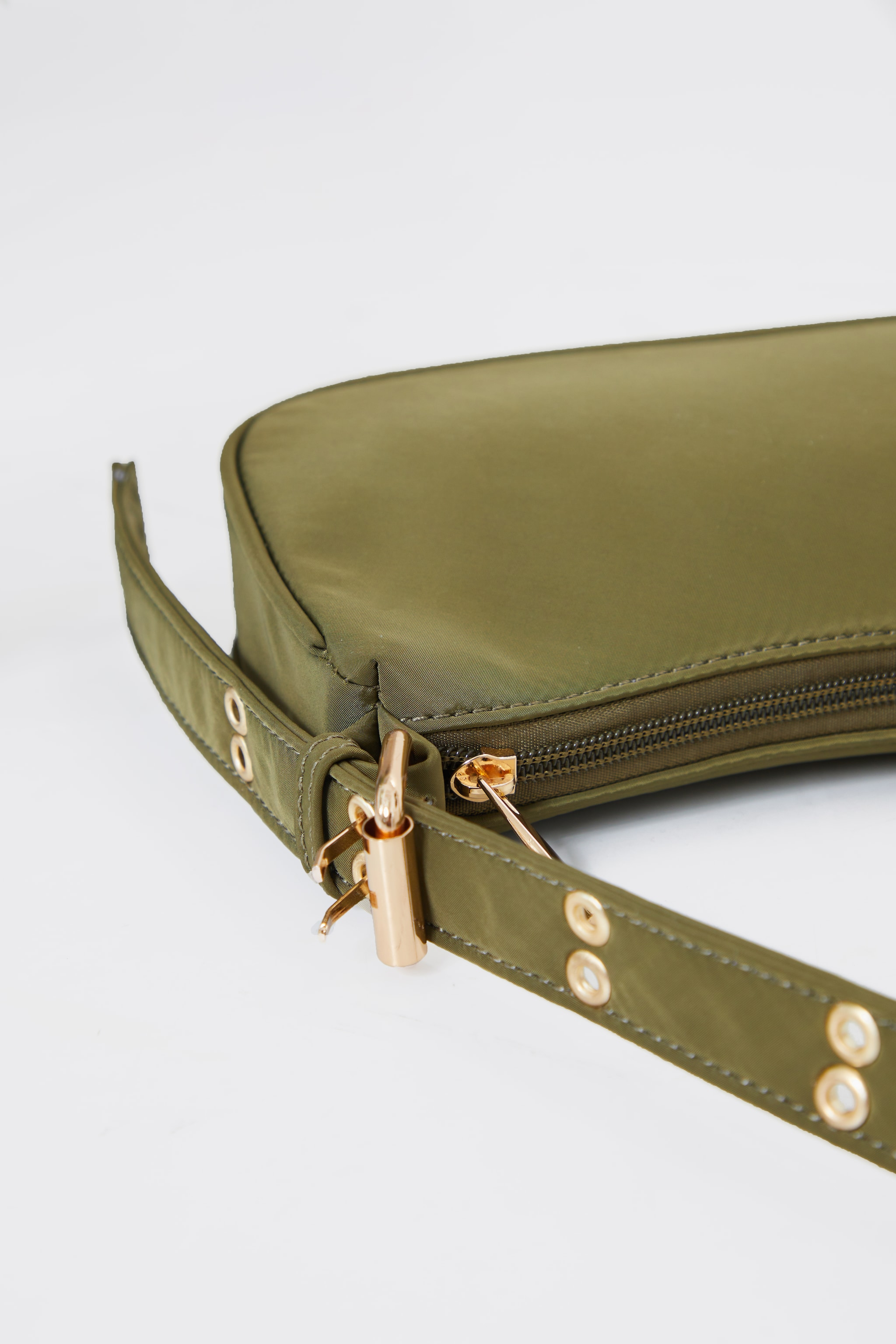 Olive Nylon Eyelet Strap Mini Shoulder Bag 4