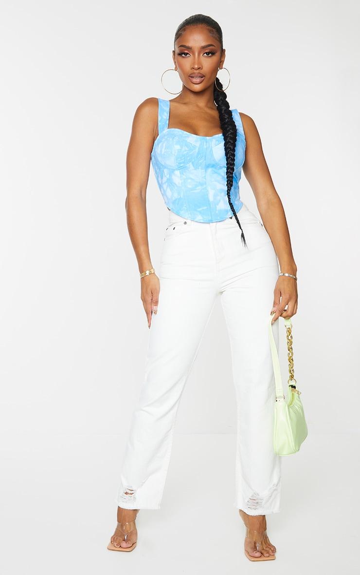 Shape Blue Tie Dye Woven Corset Crop Top 3