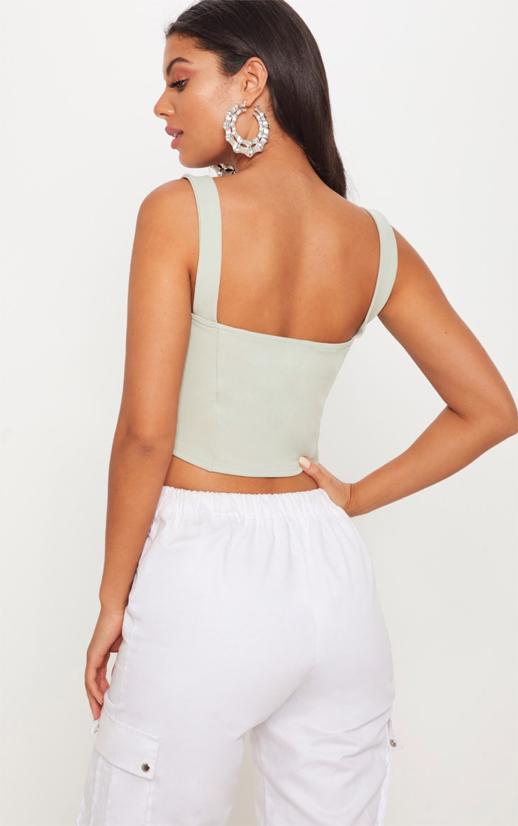 Sage Lace Up Scuba Crop Top 2