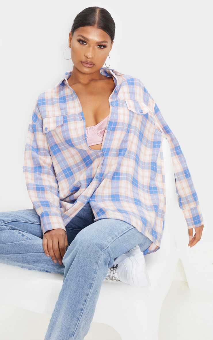 Pale Blue Checked Oversized Pocket Detail Shirt 1