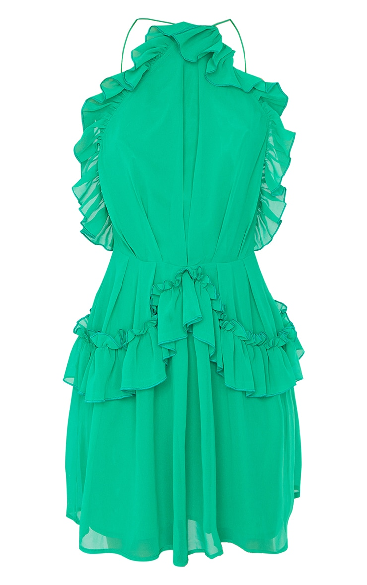 Bright Green Printed Frill Detail Strappy Shift Dress 5