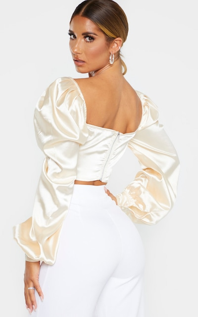 Nude Satin Button Front Square Neck Crop Top