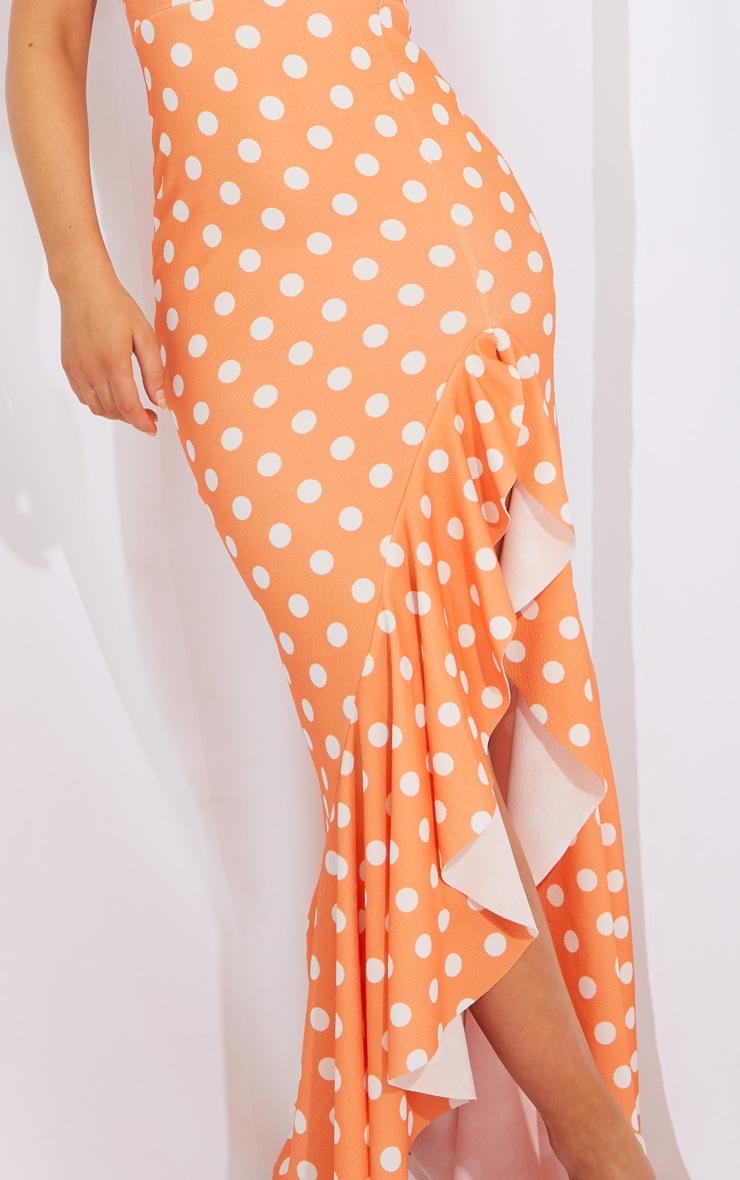 Tangerine Polka Dot One Shoulder Frill Split Maxi Dress 4