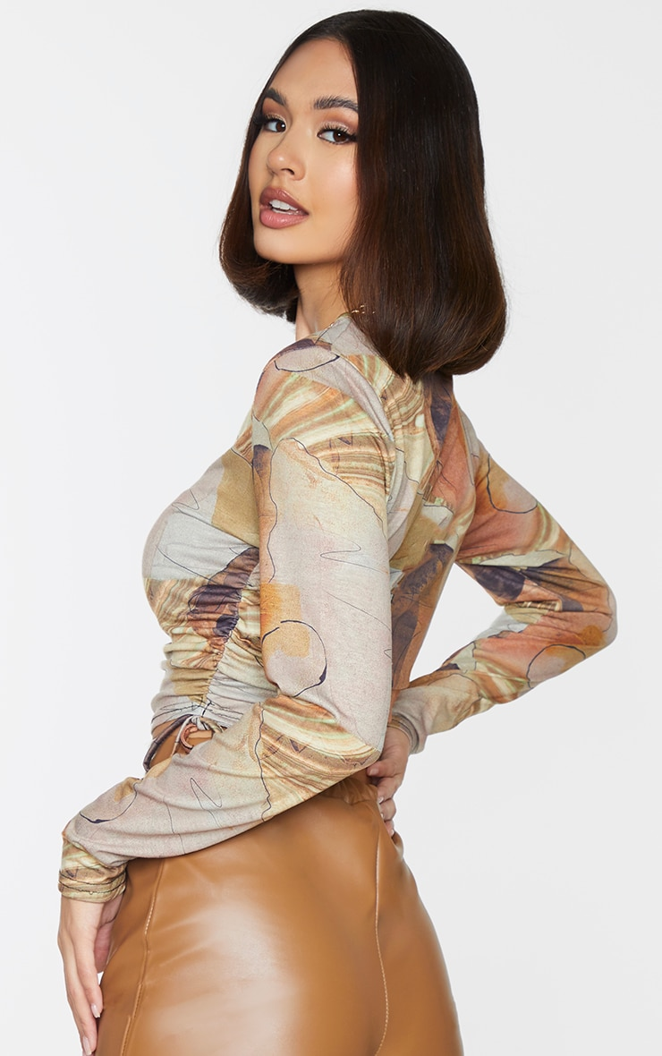 Beige Abstract Print Jersey Ruched Side Long Sleeve Crop Top 2