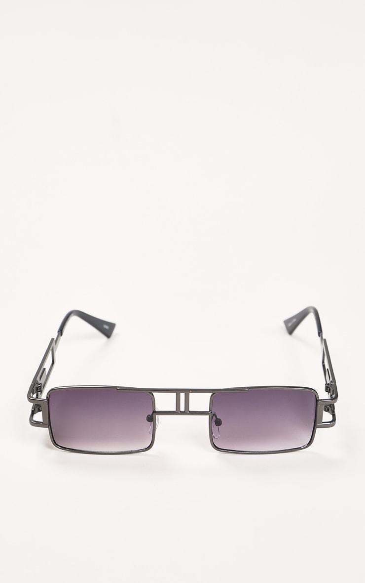 Black Trim Double Bar Faded Sunglasses 1