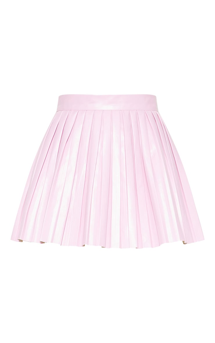 Pale Pink Faux Leather Pleated Skater Skirt  3