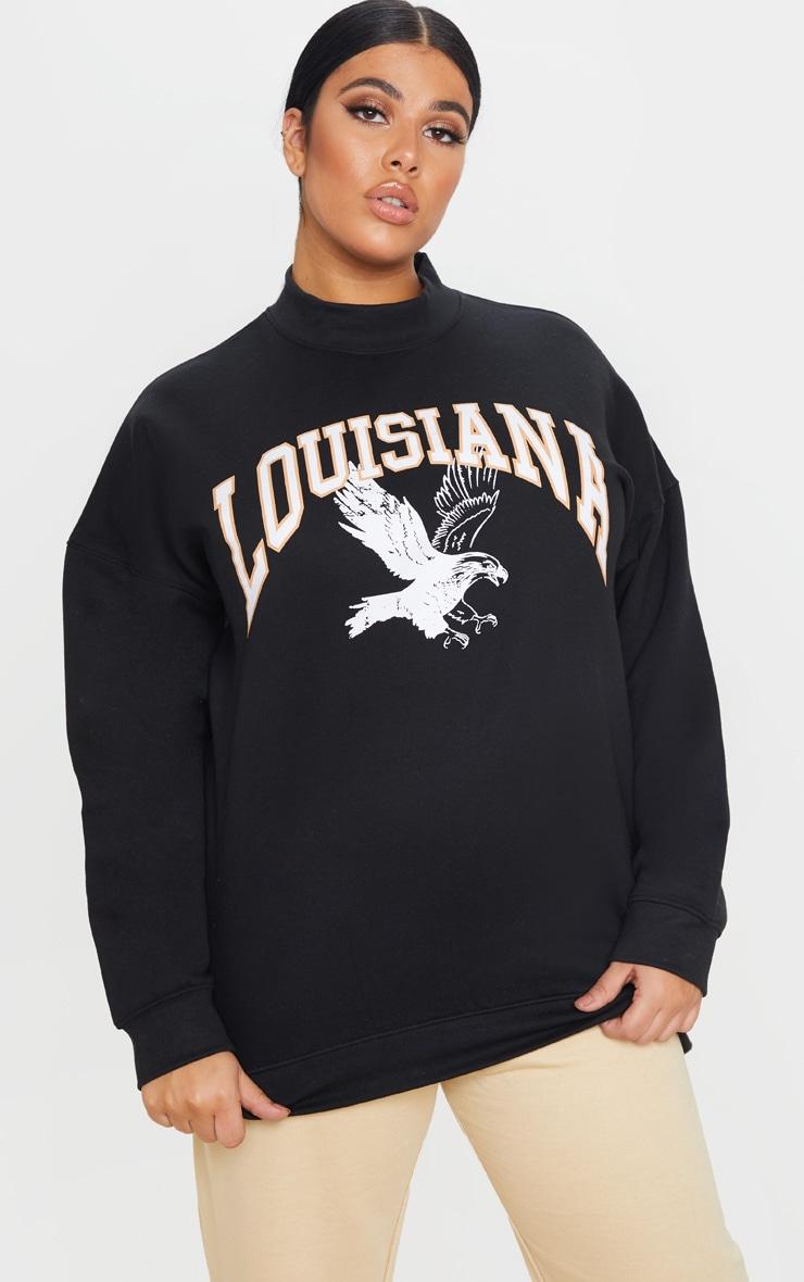 Plus Black Louisiana Print Oversized High Neck Sweater 1