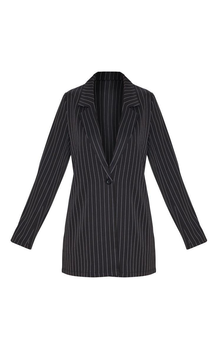 Petite Black Oversized Pinstripe Blazer 3