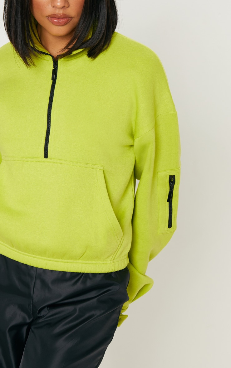 Sweat oversized vert citron à zip frontal 5