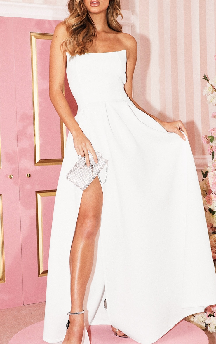 White Scuba Bandeau Maxi Dress 5
