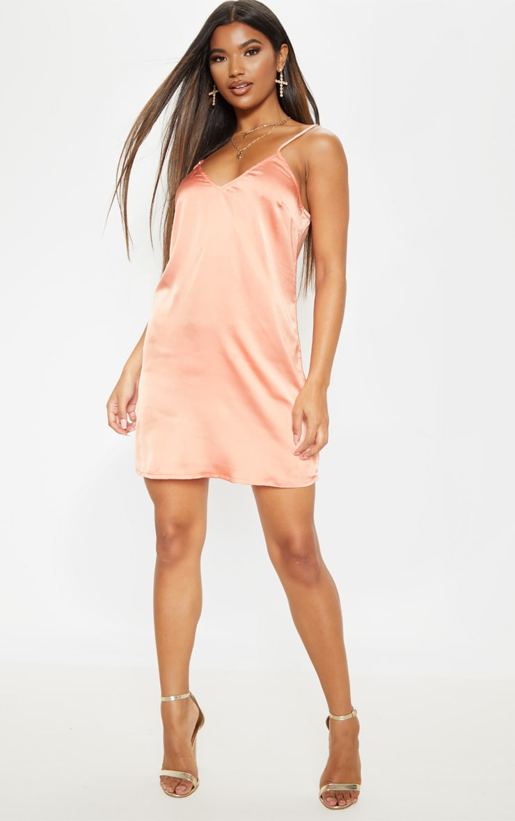 Peach Satin Slip Dress 3