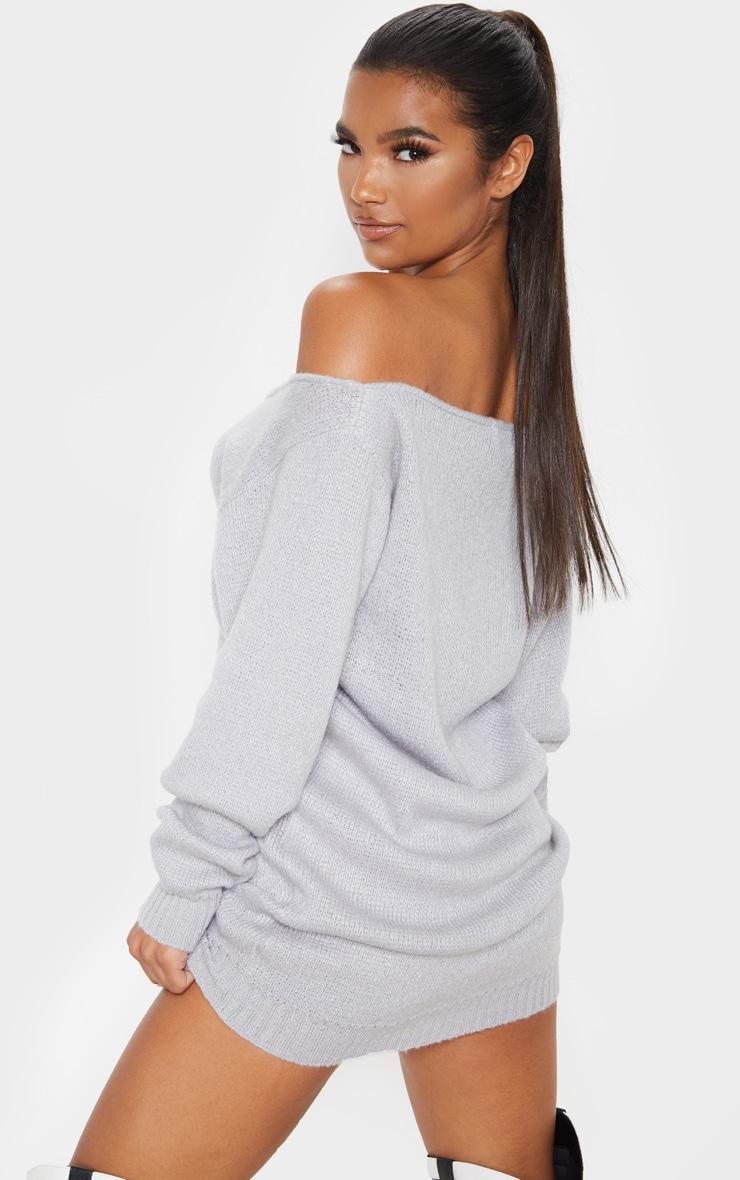 Light Grey Soft Knitted Off Shoulder Mini Dress 2
