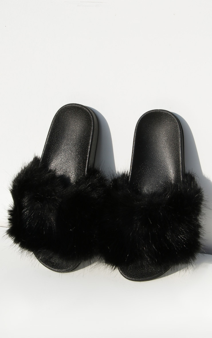 Black Faux Fur Strap Sliders 3