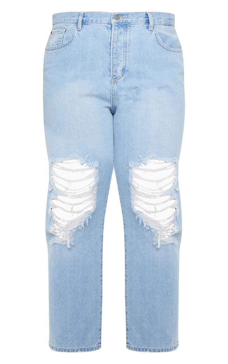 Plus Light Wash Distressed Boyfriend Jeans 3