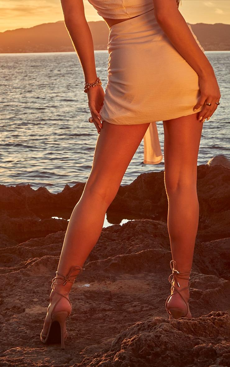White Linen Look Wrap Mini Skirt 3