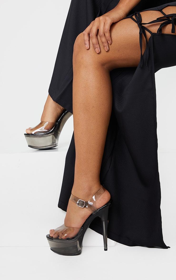 Black Extreme Clear Platform Sandals 2