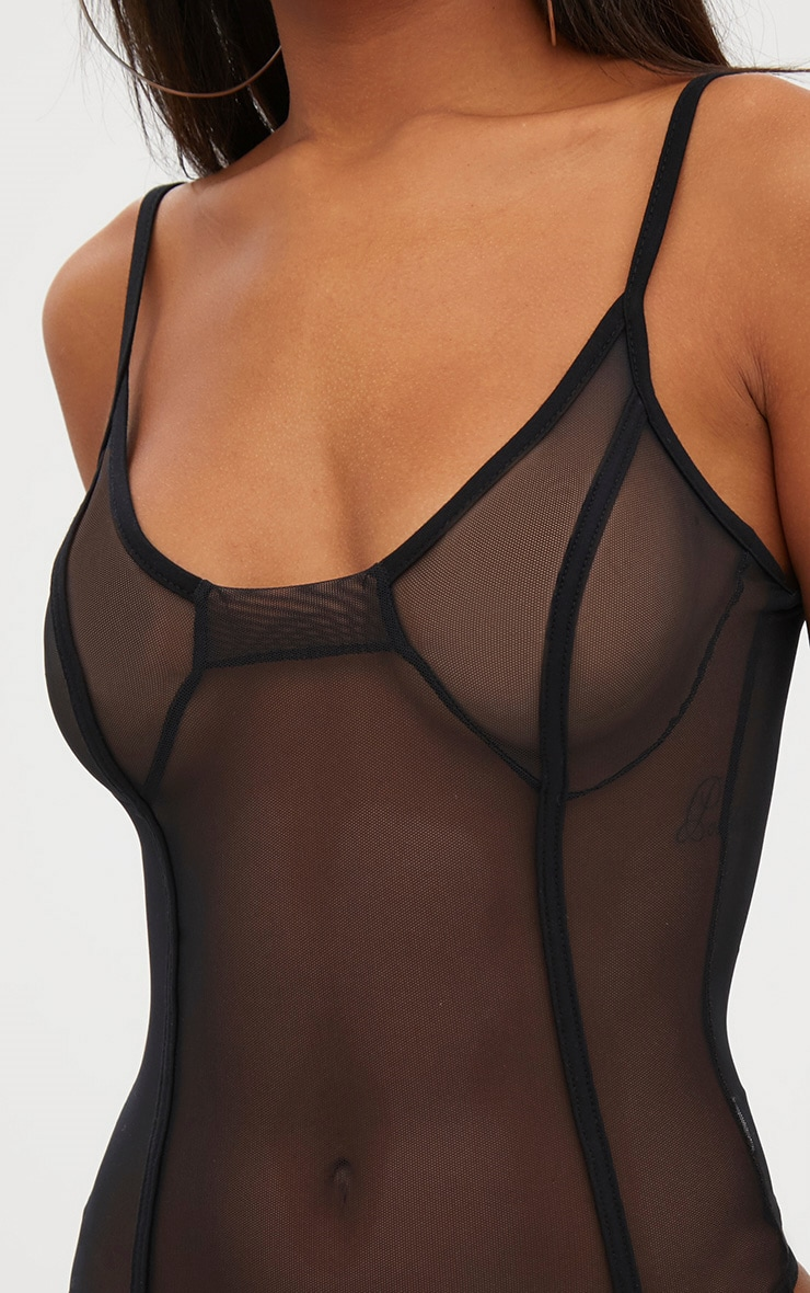 Black Mesh Bustier Seam Detail Thong Bodysuit 6