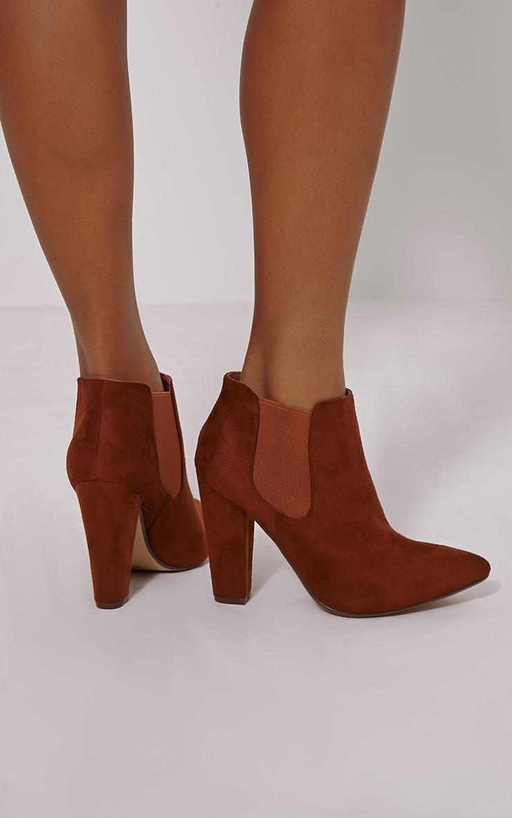 Bridget Tan Faux Suede Heeled Chelsea Ankle Boots 2