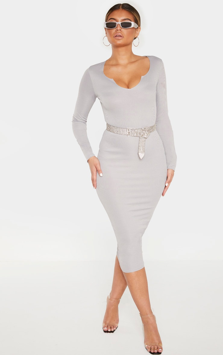 Grey Raw Edge Long Sleeve Rib Midi Dress 4
