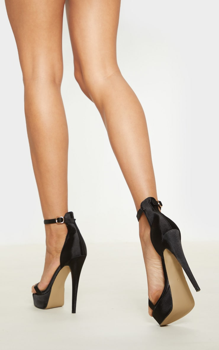 Black Satin Single Strap Platform Heels 2