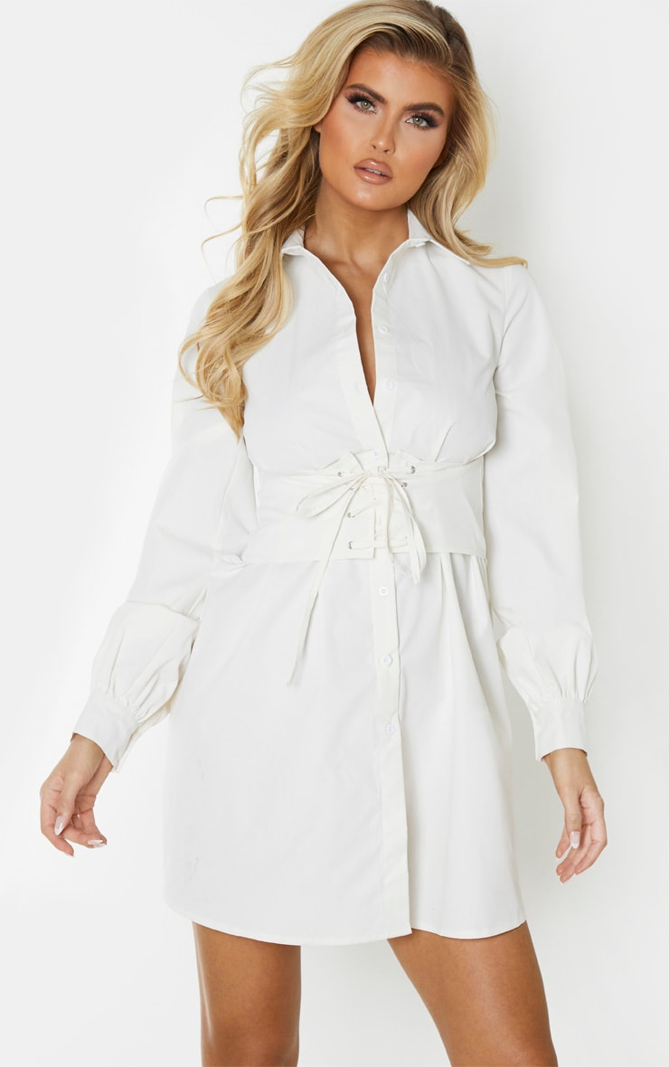 Tall Cream Corset Detail Shirt Dress 1