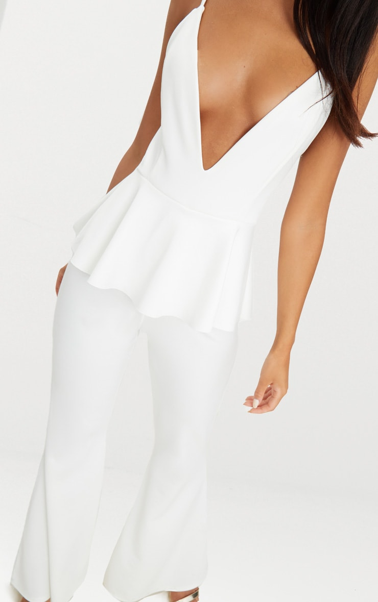 White Strappy Peplum Jumpsuit 4