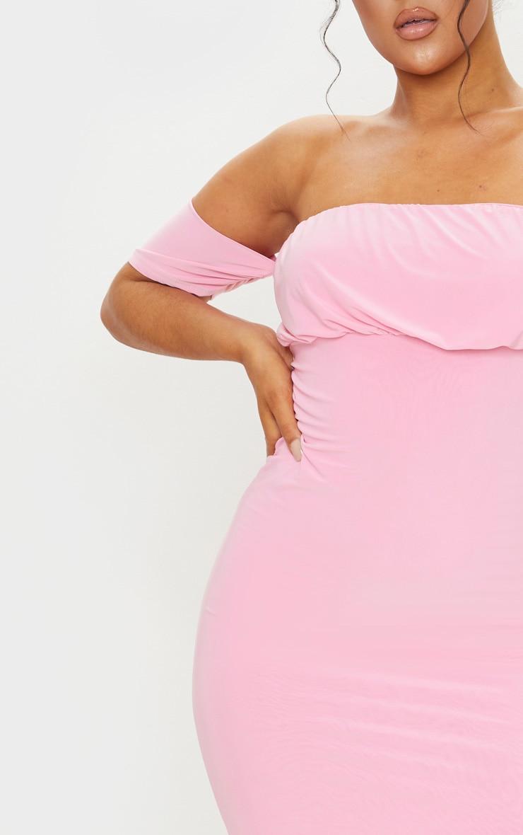Pink Slinky Bardot Ruched Bust Midi Dress 4