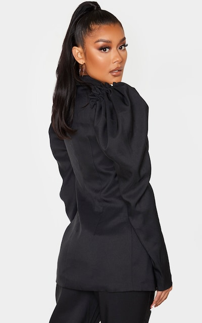 Black Woven Puff Sleeve Fitted Blazer