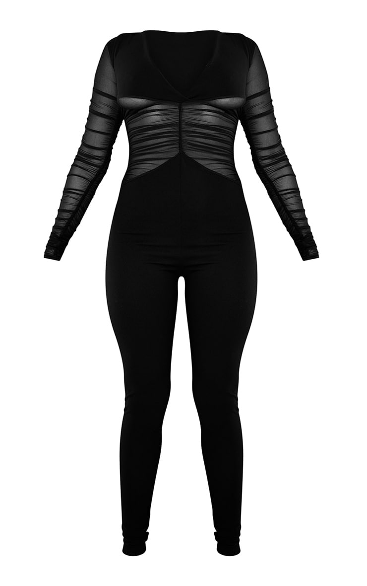Black Ruched Mesh Panel Plunge Jumpsuit 6