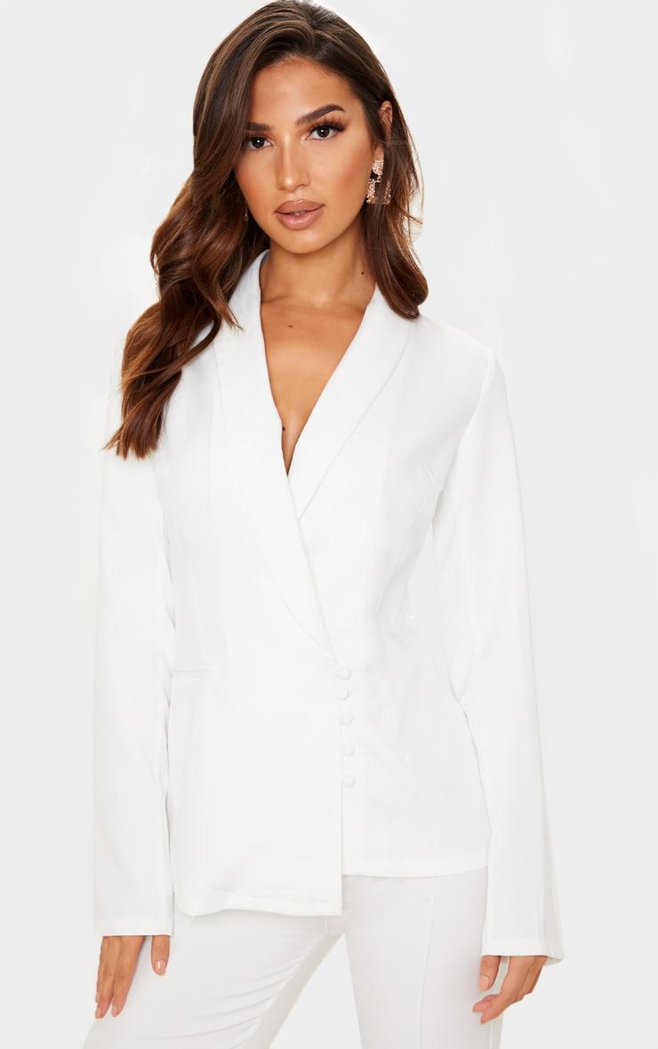 Cream Woven Collar Button Detail Blazer 1