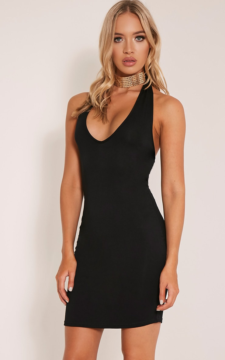 Frankie Black Halterneck Bodycon Dress 4
