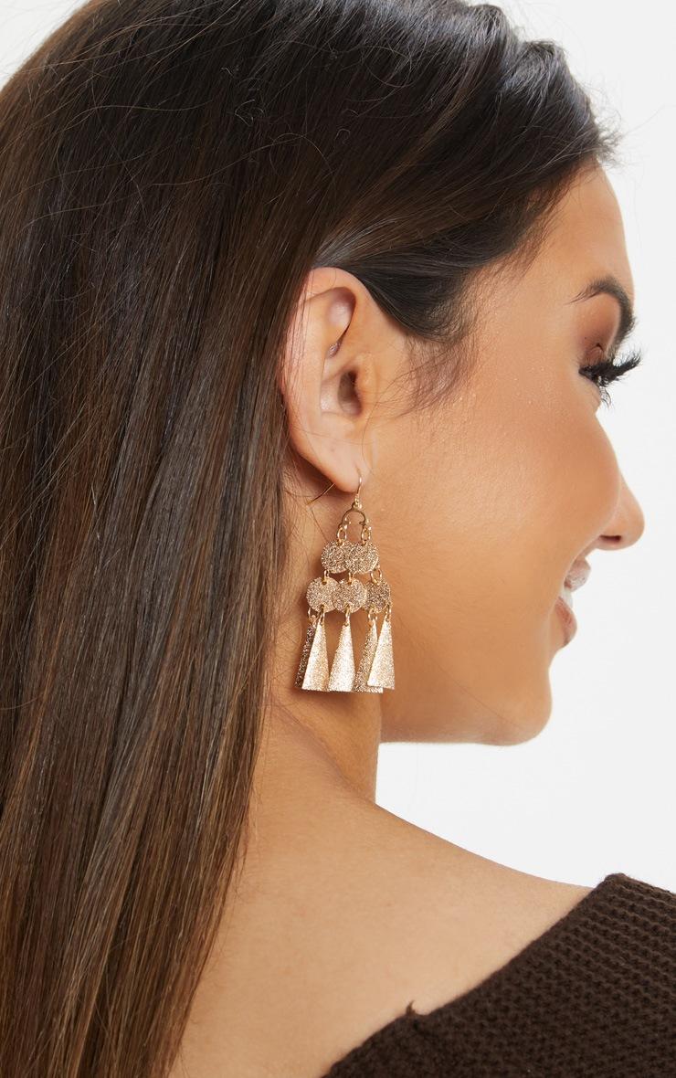 Gold Mini Disc And Plate Tassel Earrings 1