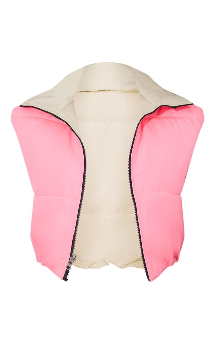 Pink Reversible Cropped Gilet 5