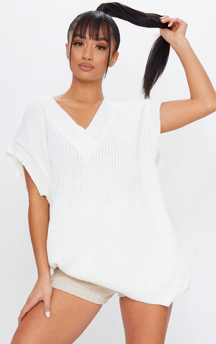 Petite Cream V Neck Sleeveless Sweater 1