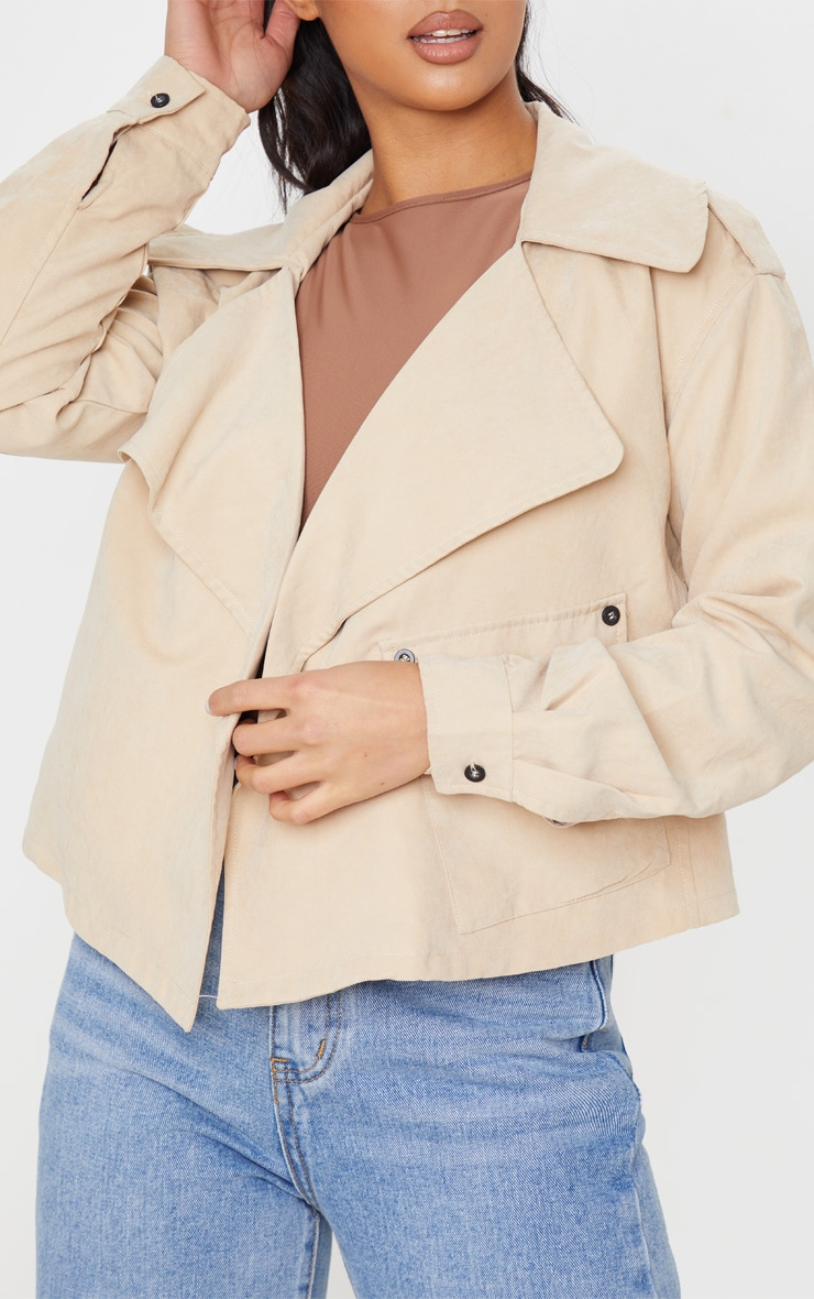 Petite Stone Cropped Trench Coat 5