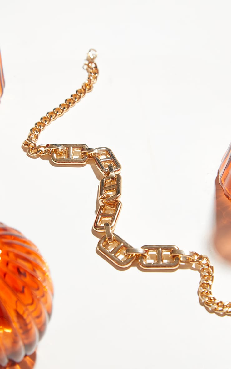 Gold Chunky Small  Square Link Necklace 3