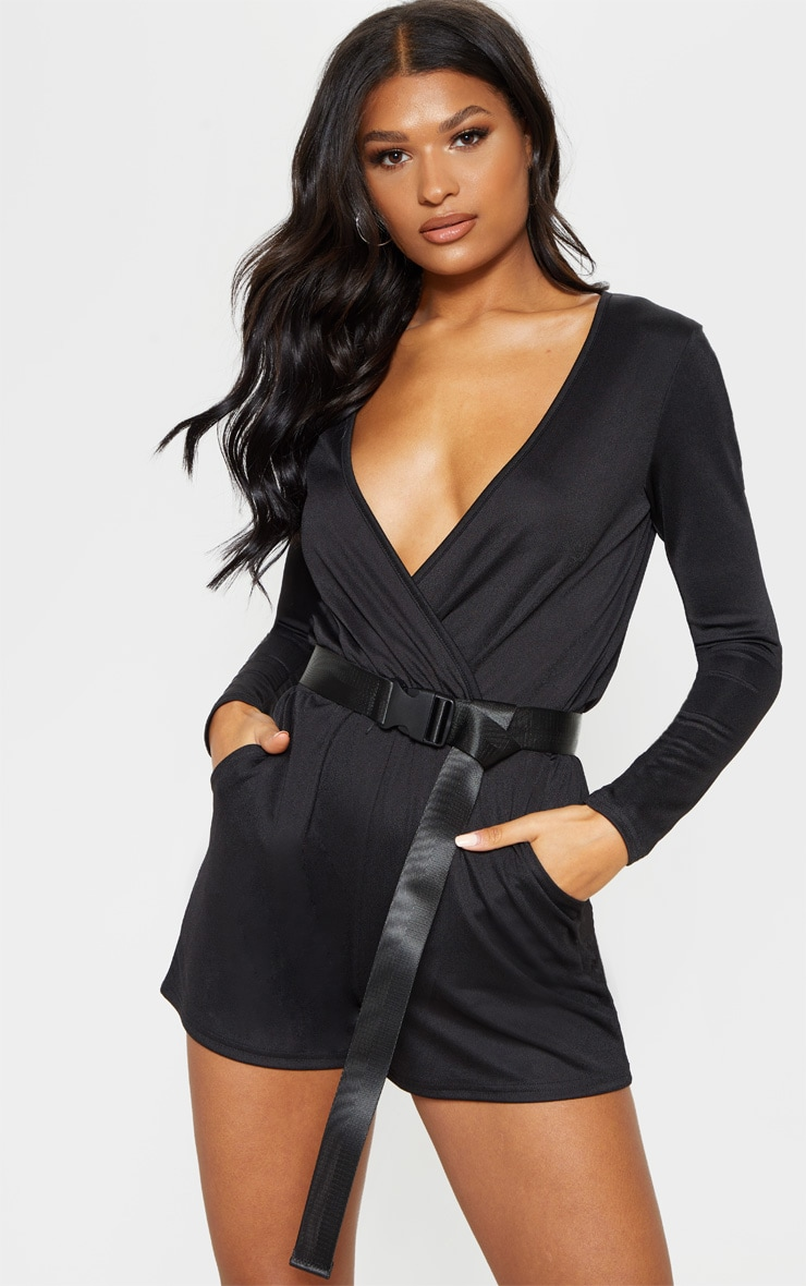 Black Long Sleeve Wrap Front Romper 4