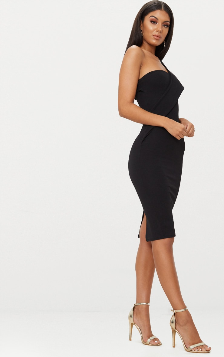 Black Asymmetric Strap Midi Dress 4