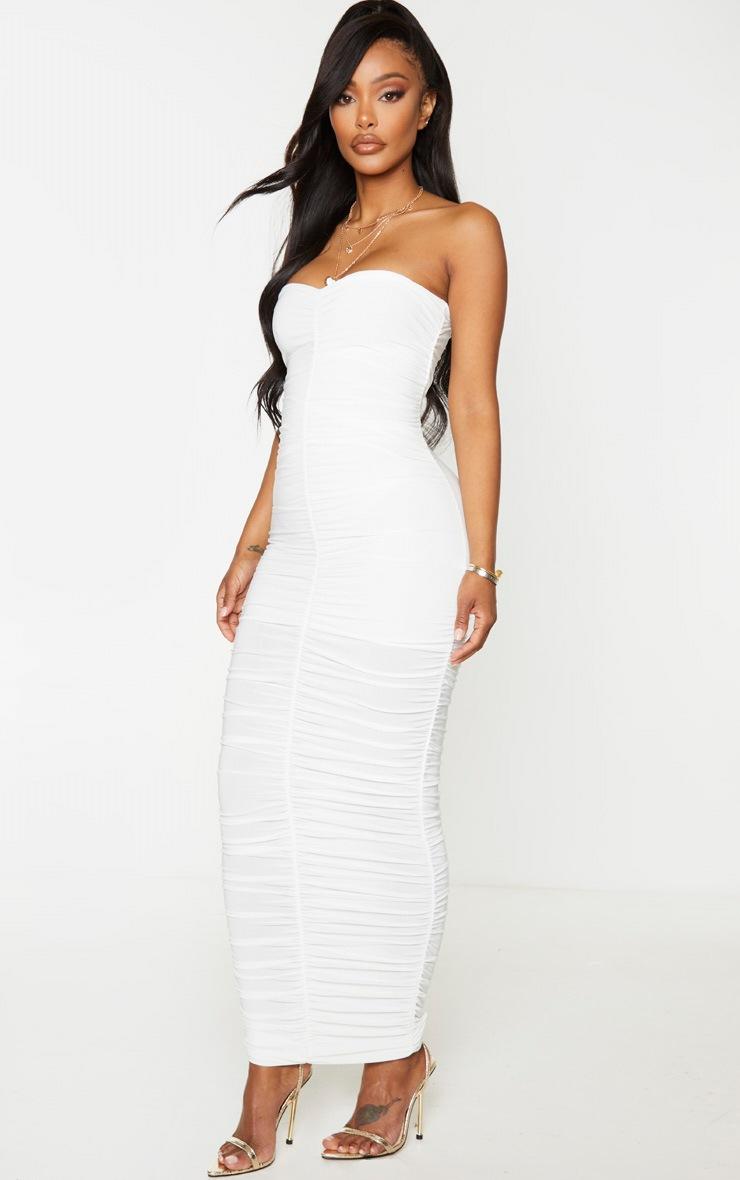 Shape Cream Bandeau Ruched Midaxi Dress 4