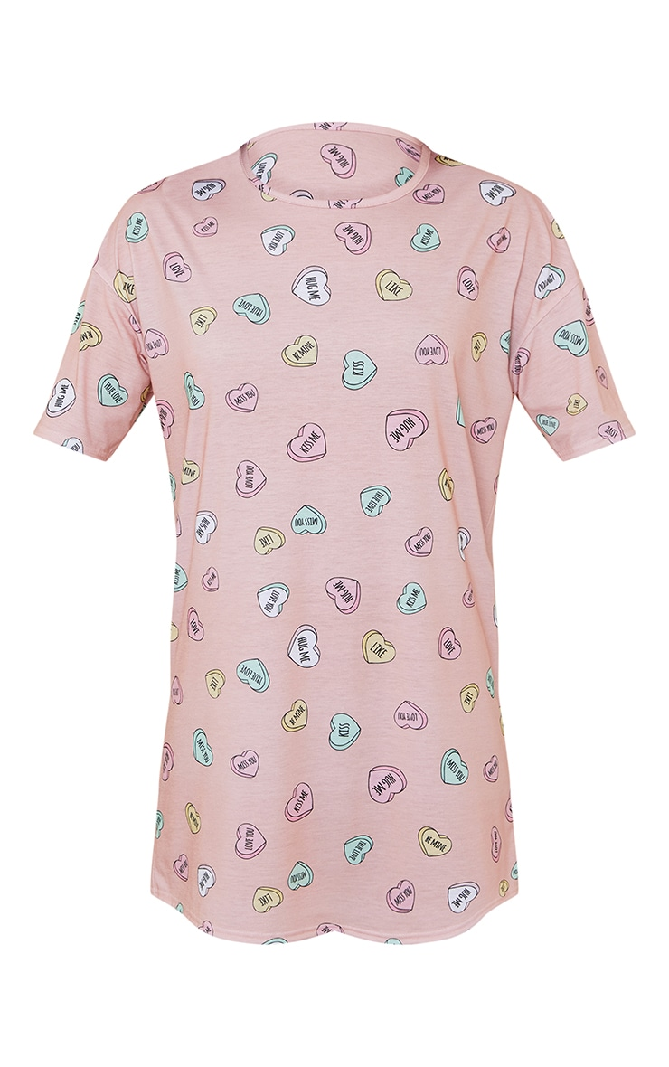 Peach Loveheart Print Oversized Nightie 5