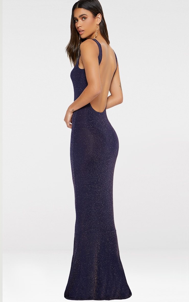 Navy Backless Glitter Fishtail Maxi Dress 1