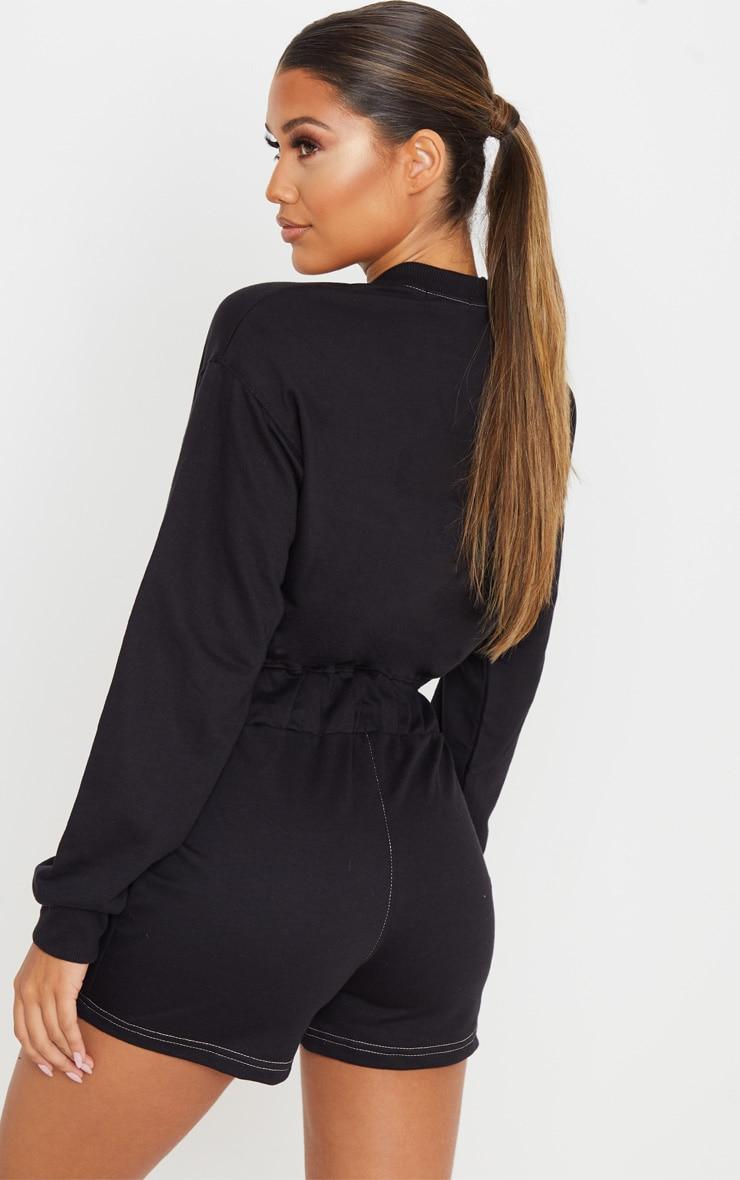 Combishort en sweat noir à manches longues et coutures contrastantes 2