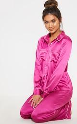 547f8b3abf Fuchsia Satin Wide Leg Pyjama Set image 4