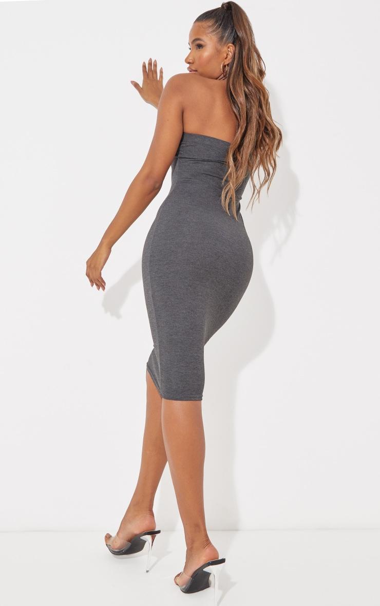 Charcoal Grey Basic Bandeau Midaxi Dress 3