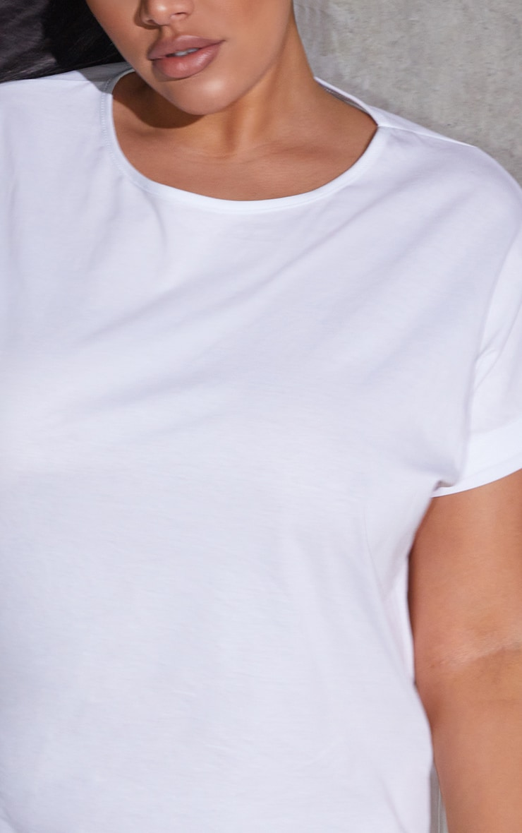 Plus White Oversized Roll Sleeve T-Shirt Dress 4