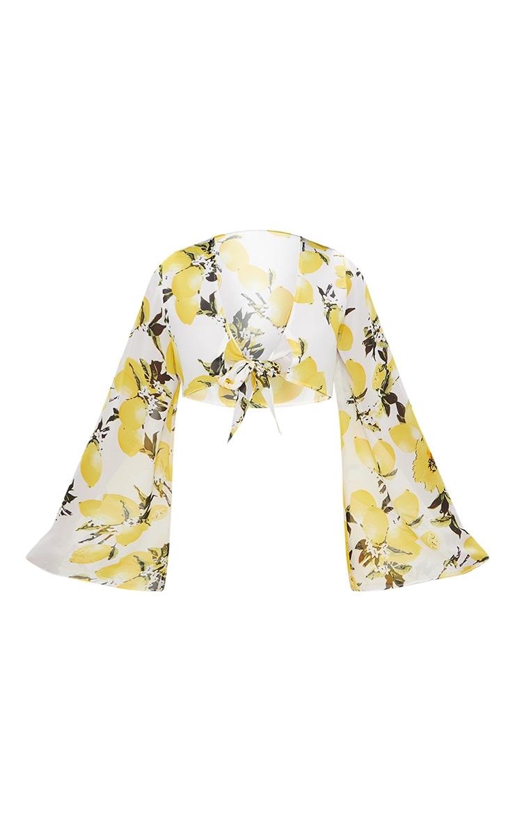 Petite White Chiffon Lemon Print Tie Front Blouse 3