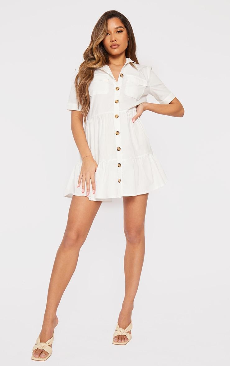 White Cotton Tiered Drop Hem Button Down Smock Dress 3